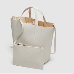 Zara Reversible Print Striped Tote Bag w/Pouch